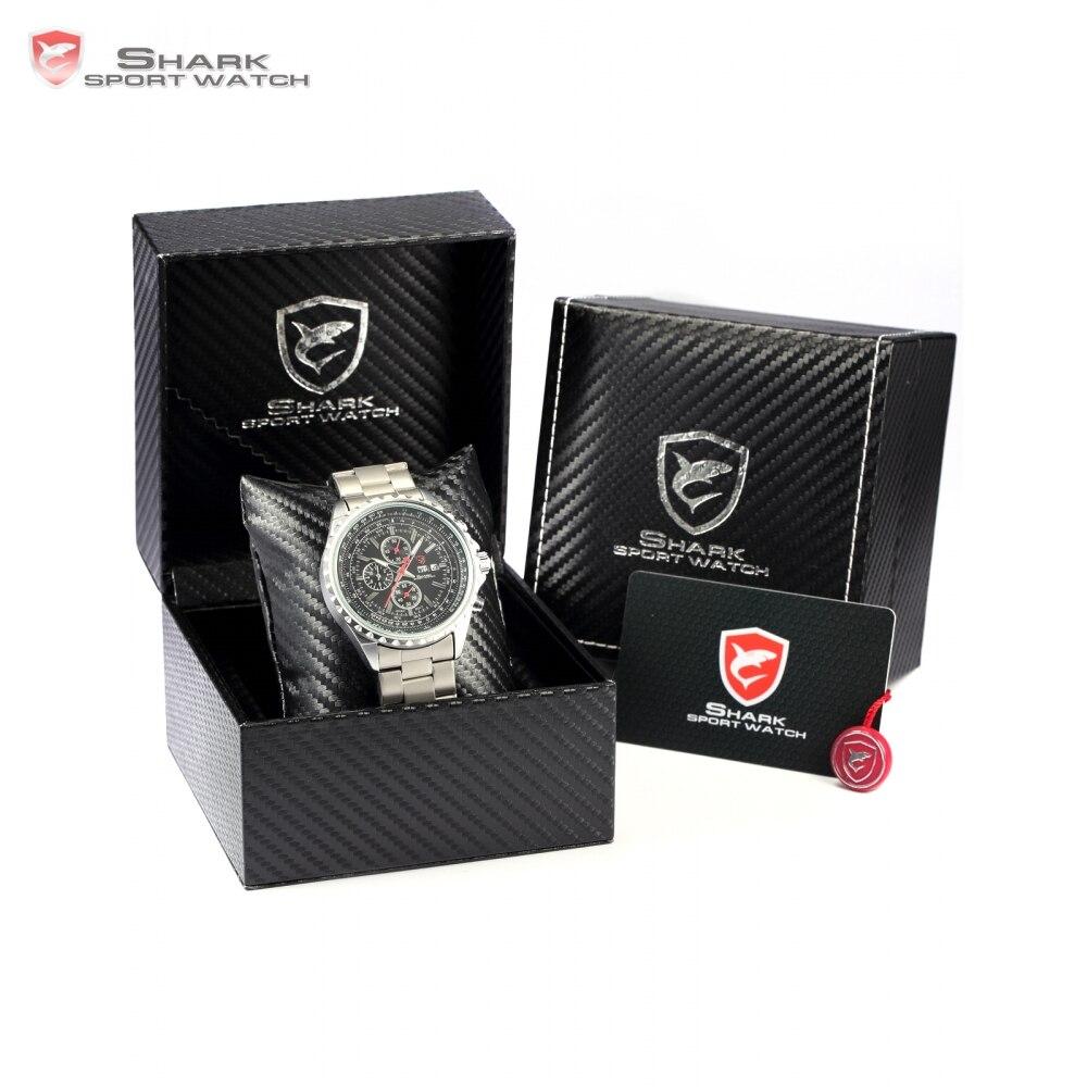ФОТО Luxury Leather Gift Box Sliteye Shark Sport Watch Date Calendar Stopwatch Water Resistant Men's Fashion Wrist Watches /SH335-339