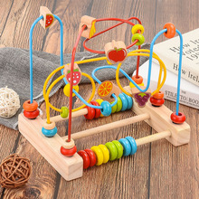 Baby child puzzle wooden round beads toys children newborns crib stroller Montessori educational toys beads gift baby toys 16pcs large cartoon farm city character dress string rope wooden toys child educational beads toys birthday gift