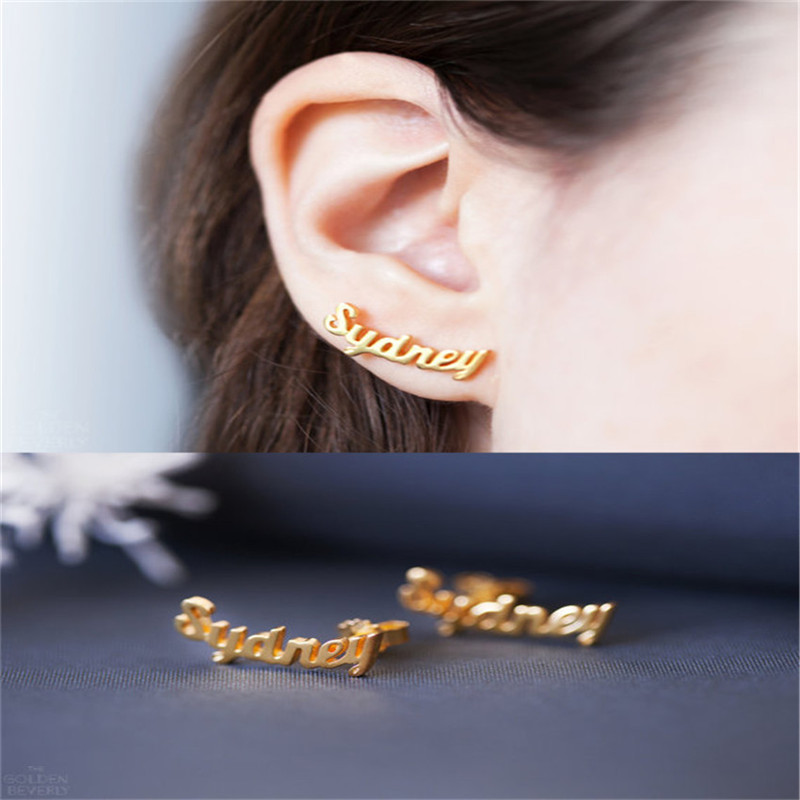 DIANSHANGKAITUOZHE Metal Personalized Name Customization Earrings Women English ID Ear Nail Individuality Jewels Stainless Steel