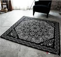 Modern Black And White Carpet Door Square Sofa Living Room Rug Tea Table Mat
