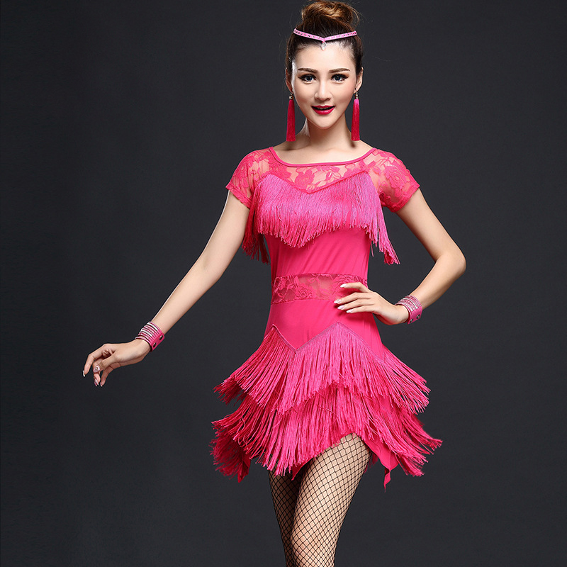 022cfa8948207 Stage Performance Women Dance Clothes Embroid Costume 4pcs Set with  Bracelet Ballroom Fringe Latin Dress Women Competition