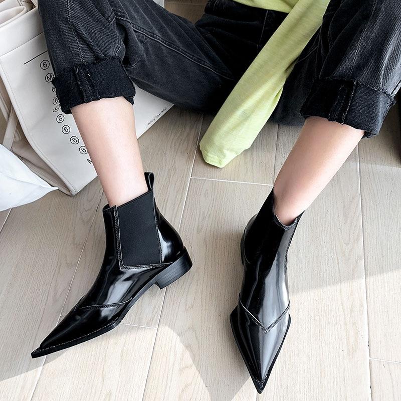 Botas de tornozelo de couro real das