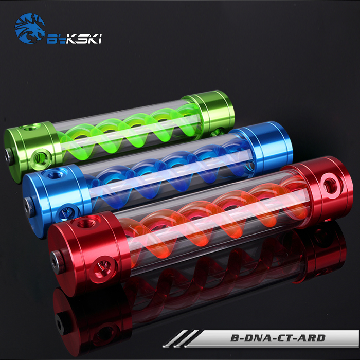 BYKSKI Length 180mm/260mm X 50mm Aluminum Acrylic Double Helix T-Virus Reservoir Water-Cooled Coolant AL Tank Red/Blue/Green DNA