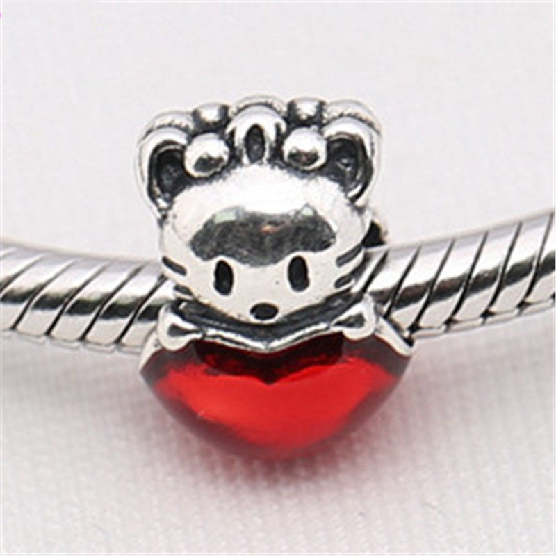 Authentic 925 Sterling Silver Bead Cute Hello Kitty Charm Fit Original Pandora Bracelet  ...