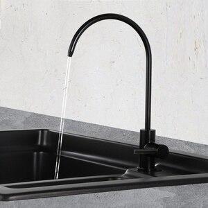 Image 3 - 黒浄水器蛇口 304 ステンレス鋼 RO 濾過飲料水フィルタータップと 1/4 インチチューブクイックコネクタ