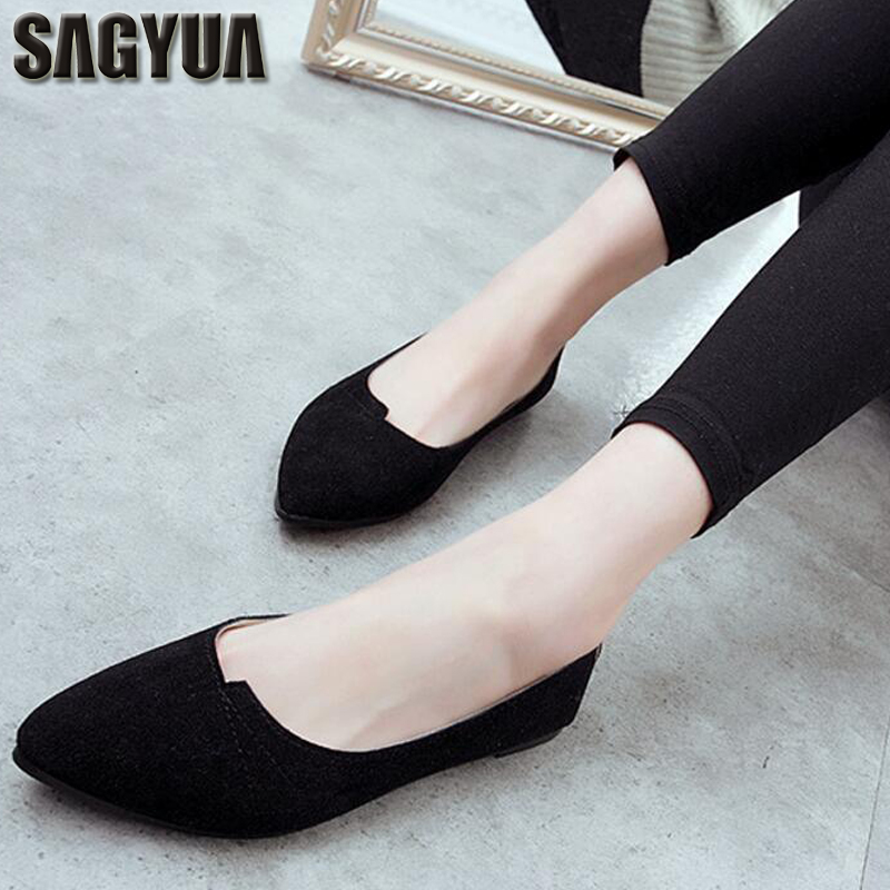 SAGYUA TOP Comfortable Women Flats Fashion Female Loafers Casual Pointed Toe Shallow Soft Solid Moccasins Lightweight Shoes T102 lin king fashion pearl pointed toe women flats shoes new arrive flock casual ladies shoes comfortable shallow mouth single shoes