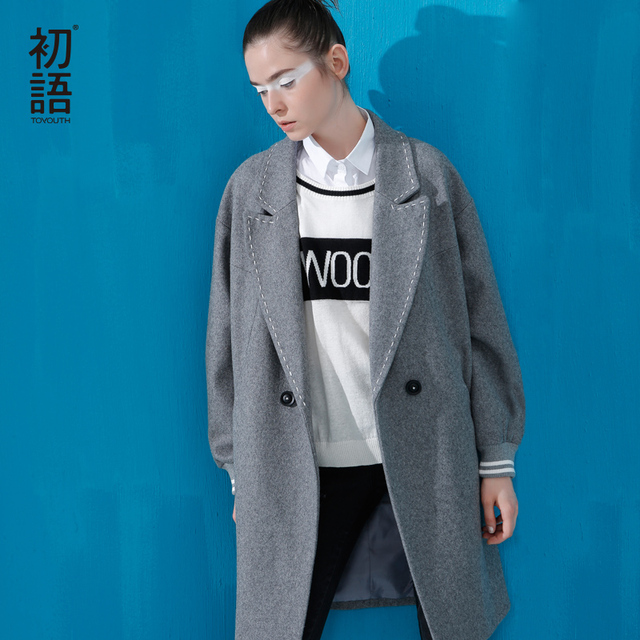 Toyouth 2017 New Arrival Women Wool Long Wollen Coat Autumn Pockets Double Breasted Square Collar Coat