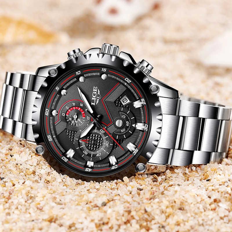 LIGE marka modne zegarki męskie mężczyźni Sport wodoodporny zegarek kwarcowy człowiek pełny stalowy zegarek wojskowy zegarki Relogio Masculino