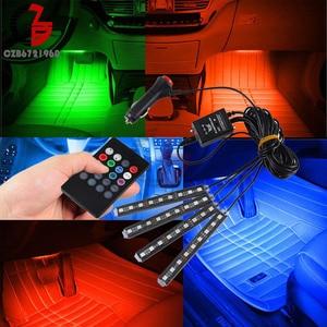 Image 5 - 12/16/36/48 LED רכב גריל Strobe RGB LED רצועת אור דקורטיבי אווירת מנורות רשת פנים אור עם מרחוק עבור אוטומטי