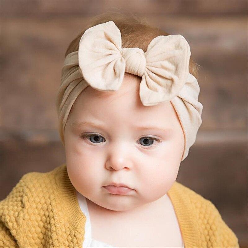 621bf3b1eac98 Cute Nylon Bowknot Baby Headband Girls Kids Hair Bows Head Bands Accessories  For Newborn Hairband Headwear