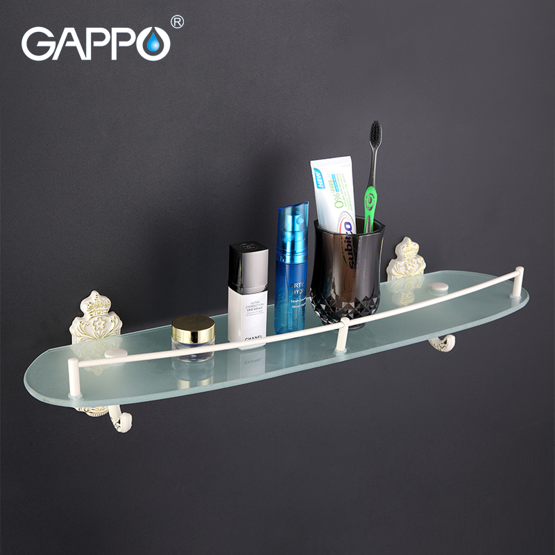GAPPO 1Set Top Quality Wall Mounted Bathroom Shelves Bathroom Glass shelf restroom shelf Hardware Accessories in two hooks G3507 1set glass
