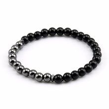 Natural Bright Black Onyx 6mm Bracelet Men, Charm Bead Bracelets & Bangles, Hematite Braclets for Women Men Jewelry(China)