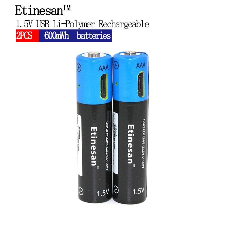 1PCS 2PCS 4PCS 6PCS 8PCS Etinesan 1.5V AAA 400mAh Li-polymer li-ion Lithium Rechargeable Battery USB Battery aaa 400mah lithium battery znter 1 5v usb charging rechargeable battery li polymer multifunctional batteries 4pcs set pilha