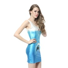 51a8170594 MWBAY Sky Blue Shark Jaws Print Sexy Party Club Summer Short Slim Dresses  for Woman