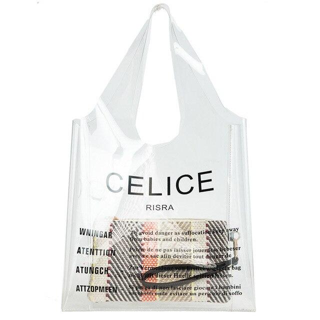 a68cb061fb Cancella pvc totes borsa grande spiaggia di plastica trasparente borse  donne borse estate 2018 moda di