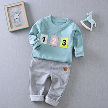 Boys suit 2017 new spring digital long sleeve t-shirt+pants two-piece children's clothes sets