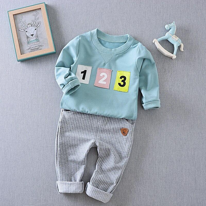 Мальчики костюм 2017 новая весна цифровой длинным рукавом футболка + брюки из двух частей детская одежда наборы
