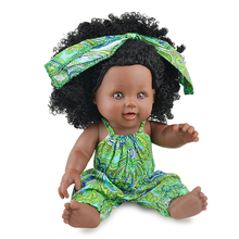 Africa Baby Dolls 30CM With Fashion Cute Headwear Lively Clothes Reborn Gift Black Wavy Hair Curls