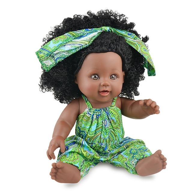 Africa Baby Dolls 30CM With Fashion Cute Headwear Lively Clothes Baby Reborn Gift Black Dolls Black Wavy Hair Dolls Curls Dolls