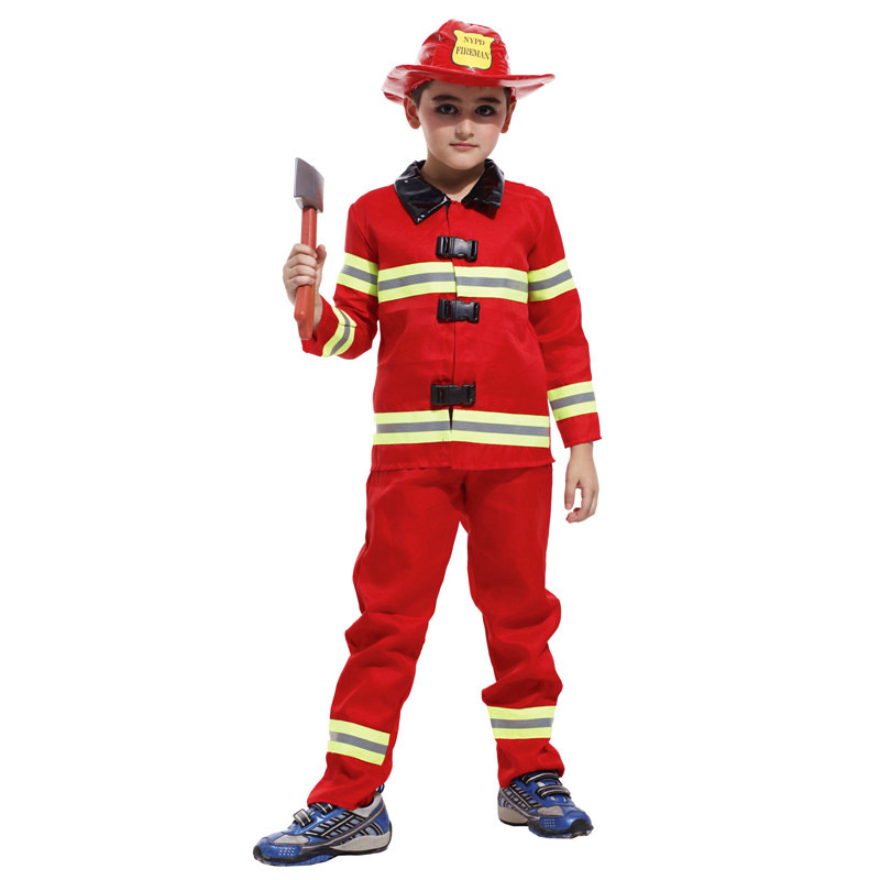 boys kids fireman uniforms cosplay childrens day halloween costumes fantasia infantile stage performance play carnival dress - Fireman Halloween