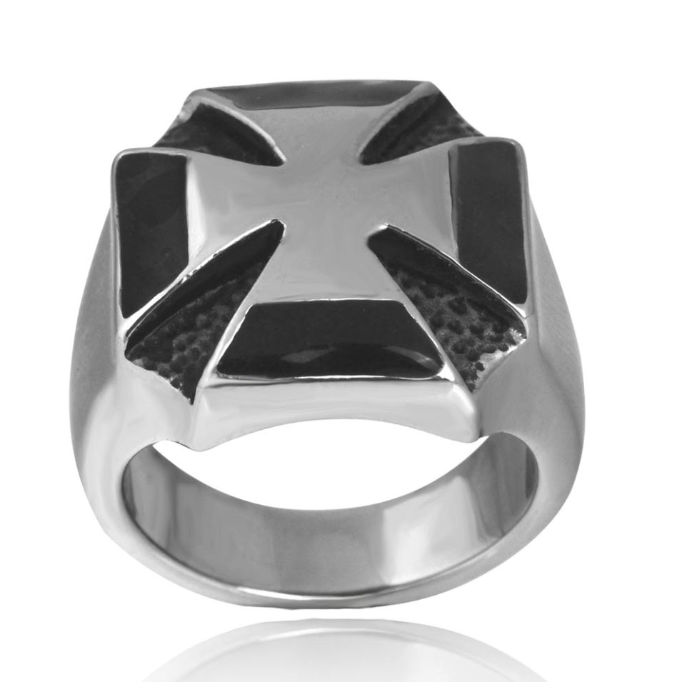 Sirius Mens Fashion Vintage Silver Iron Cross Medal World War II Stainless Steel Fingers Ring