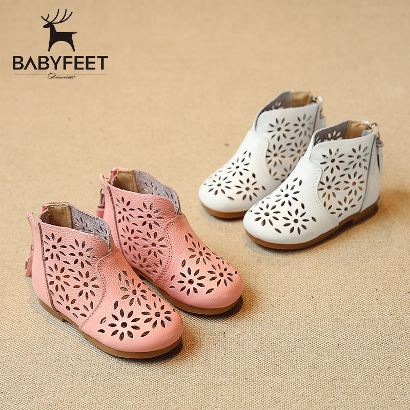 Babyfeet summer baby girl sandals Genuine leather shoes 1-3 year old baby Toddler shoes ankle boots non-slip Hollow Tassel Zip babyfeet newborn baby boy shoes toddler sandals leather non slip kids shoes 0 1 years old boy girl children infant infantile