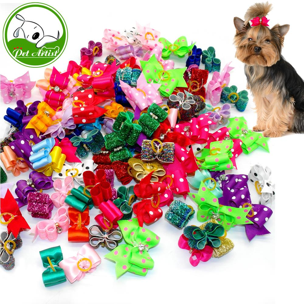 New Pet Dog Hair Bows with Rubber Bands and Bowknot Dog Grooming Accessory