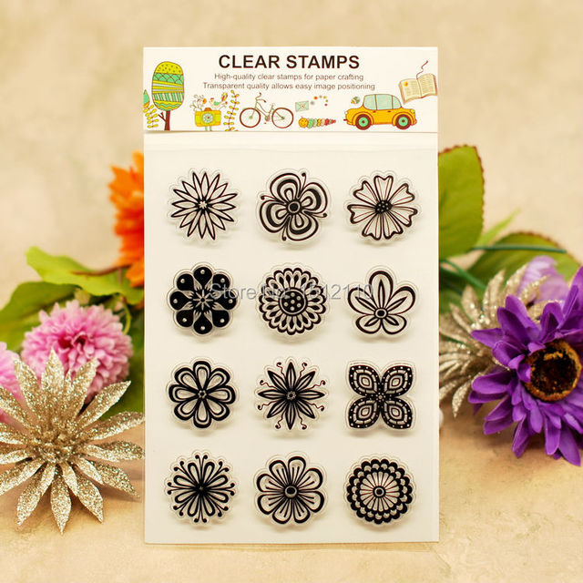 Scrapbook DIY Photo Cards Account Rubber Stamp Clear Transparent Flowers 11x16cm KW661405