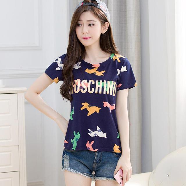 Iricheraf футболка Летняя 2017, женская обувь Новые поступления корейской моды с принтом хлопковые футболки Тонкий О-образным вырезом повседневные топы с короткими рукавами Femme