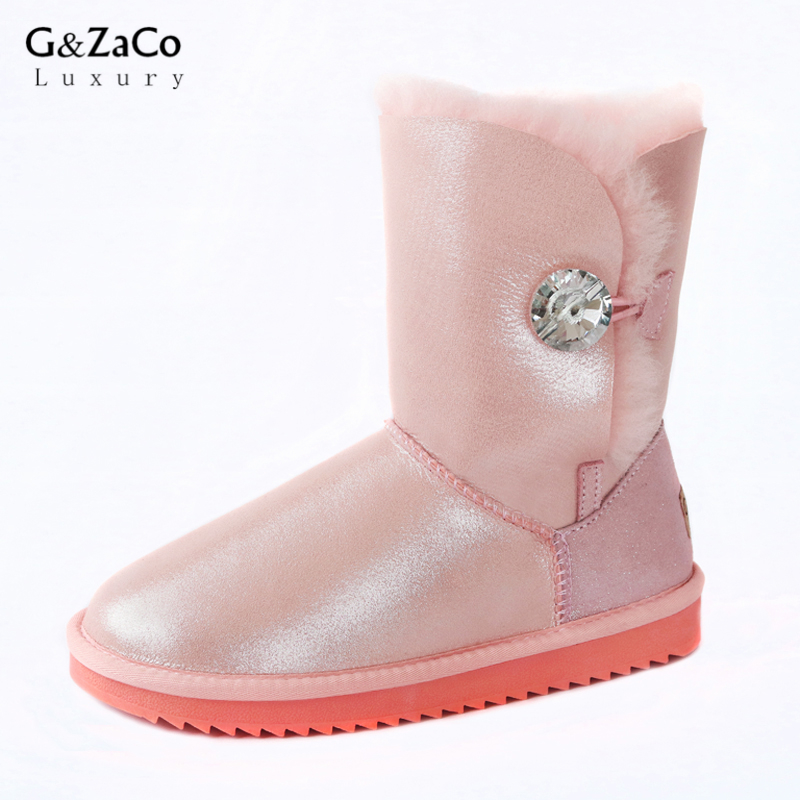 G&Zaco Luxury Winter Sheepskin Snow Boots Natural Sheep Fur Boots Mid Calf Crystal Button Flat Women Wool Boots Waterproof Shoes stylish women s mid calf boots with solid color and fringe design