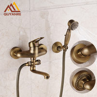 Antique Brass Bath Shower Faucets With Long Tub Outlet Pipe Wall Mounted Bathroom Mixer Faucets