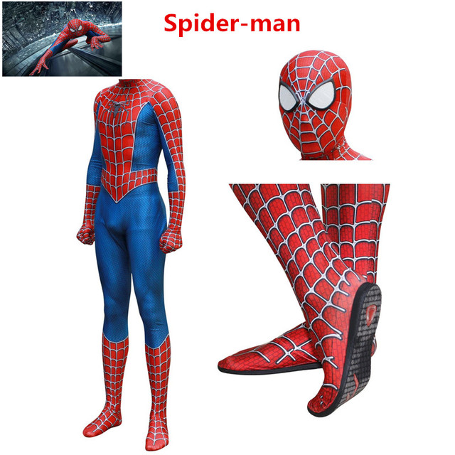 High Quality Classic Anime Spider-Man Cosplay Costumes Sam Raimi Zentai Spider Man Adults Kids Jumpsuits Bodysuit Halloween Suit