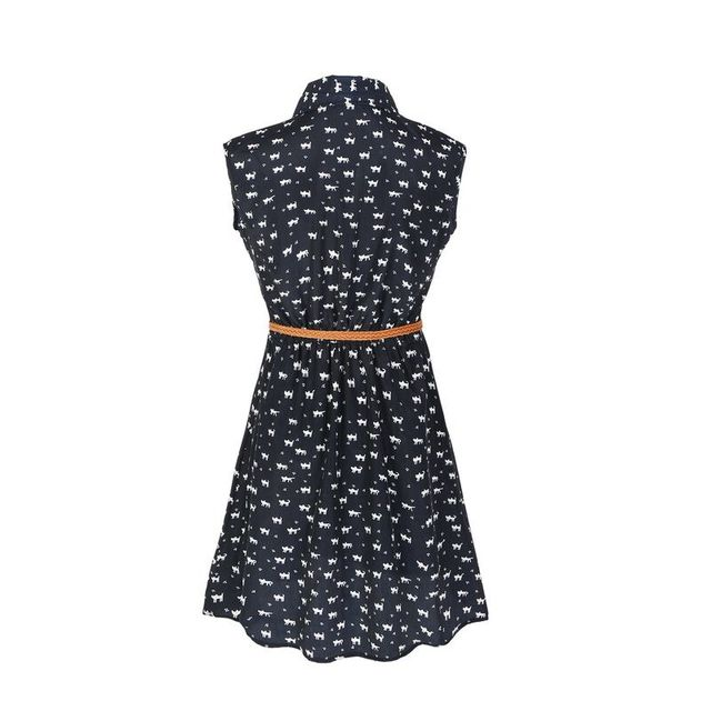 Fun Orange summer fashion new women shirts dress Cat footprints pattern Show thin Shirt dress casual dresses with Belt