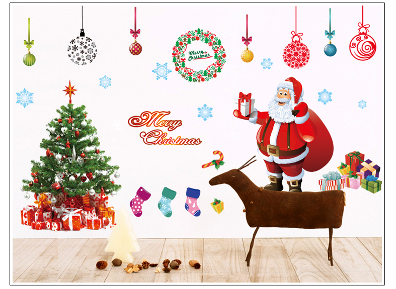 226 Large New Years Window Santa Claus Cristmas Tree Wall Stickers On The Wall Home Decor For Kids Rooms Free Shipping