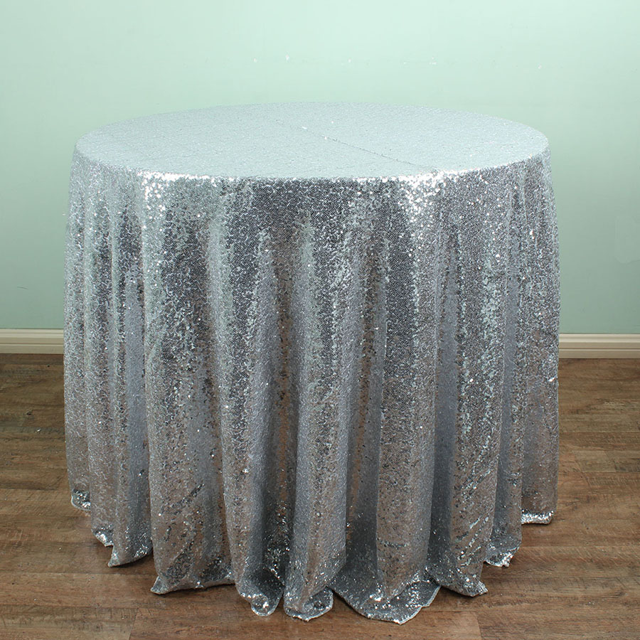 96 inch round tablecloth - Silver 96 Round Sparkly Sequin Tablecloths Christmas Birthday Wedding Table Decoration China