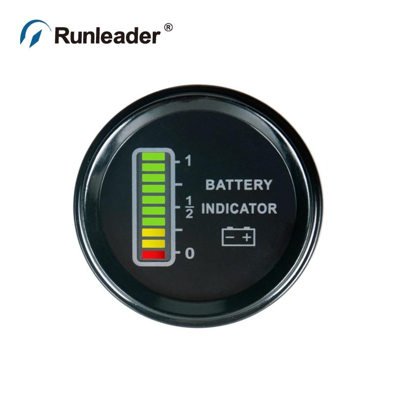 Runleader Lcd Battery Indicator Bi011a 12v  24v  36v  48v For Atv Utv Tractor Golf Carts Cleaning
