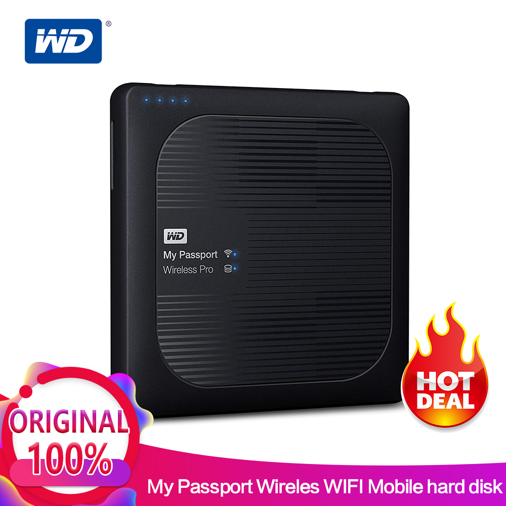 Western Digital WD 2TB 3TB 4TB My Passport Wireless Pro Portable External Hard Drive - WiFi USB 3.0- battery (up to 10 hours)
