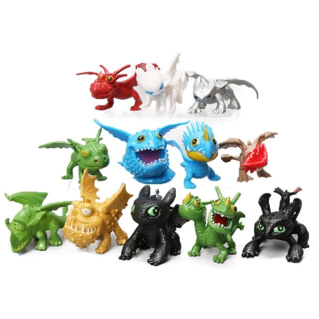 12 pcs 3-6 centímetros Como Treinar O Seu Dragão Brinquedos Mundo Oculto 3 Fúria Da Noite Desdentado Fúria da Luz figuras de ação da Meatlug Soluço Melequento