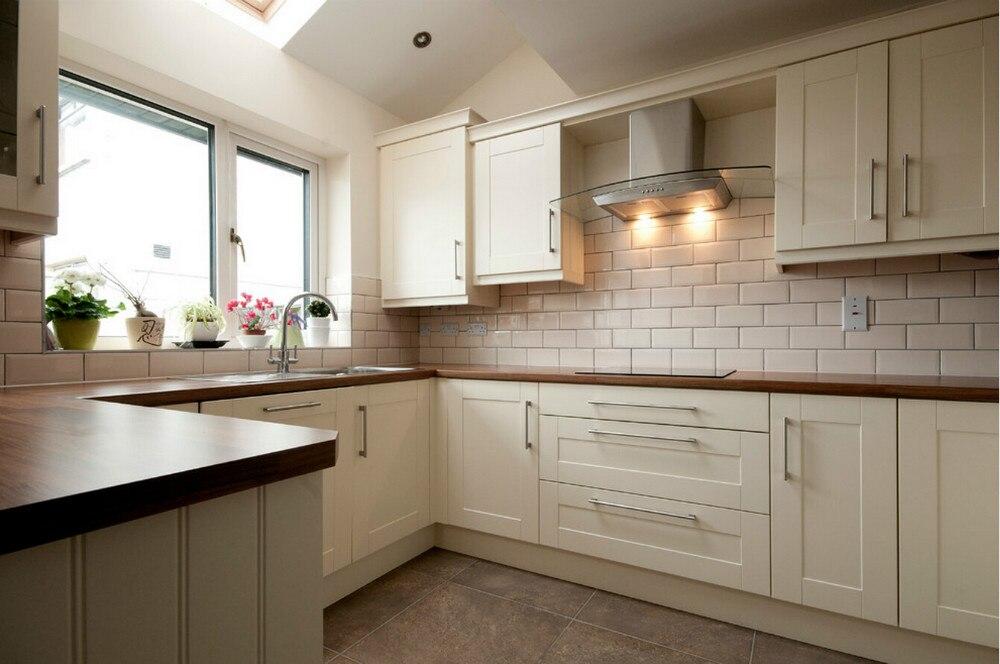 2017 ventas calientes diseño de mueble de cocina de madera maciza con 18mm contrachapada y 20mm madera de roble