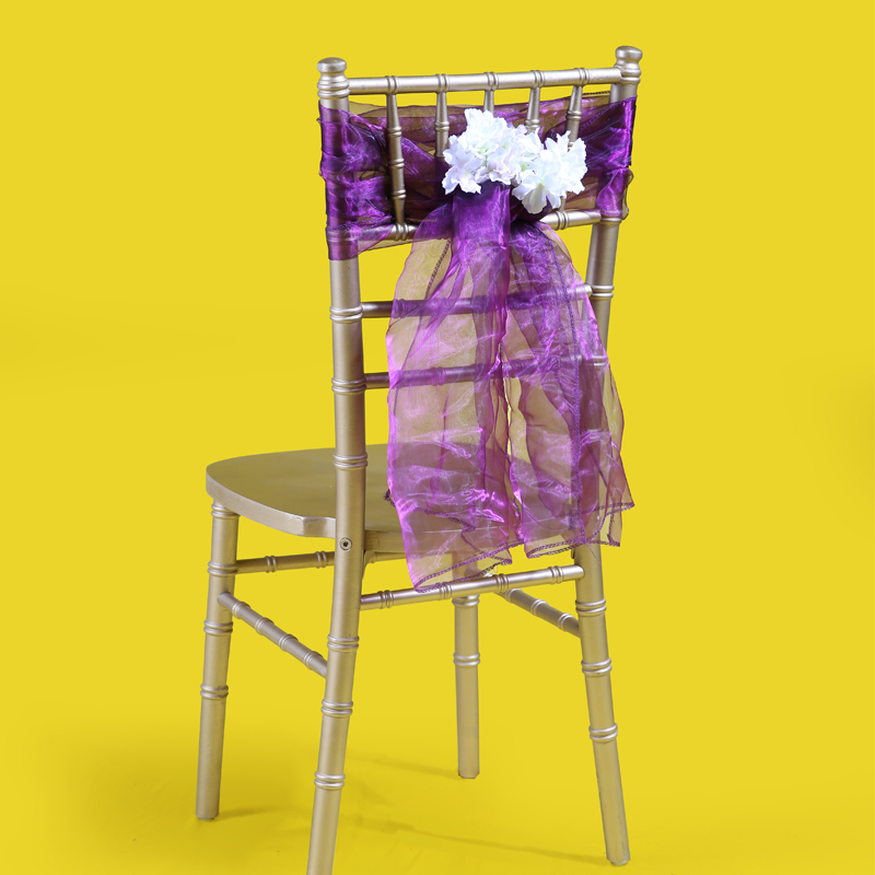 cheap customized wedding chair hood ruffled chiffon rental wedding decoration chair bow organza wedding chiavari sash from facto