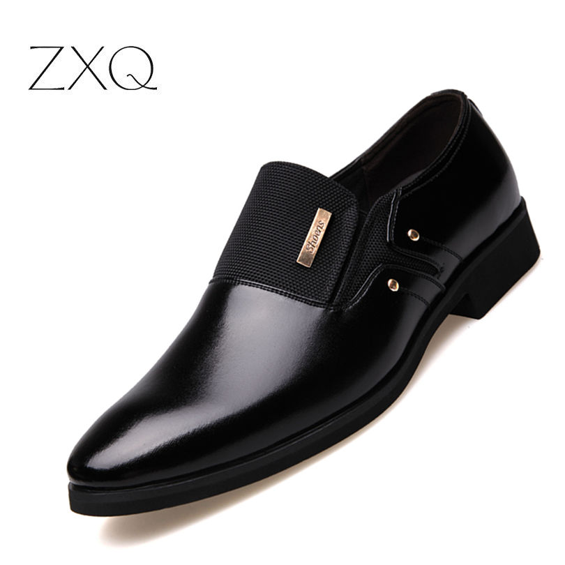 2018 New Fashion Slip On Leather Pointed Toe Men Dress Shoes Business Wedding Oxfords Formal Shoes For Male Big Size 38-47 pointed toe men dress oxfords shoes italian leather male wedding party formal shoes black slip on fashion design business shoes