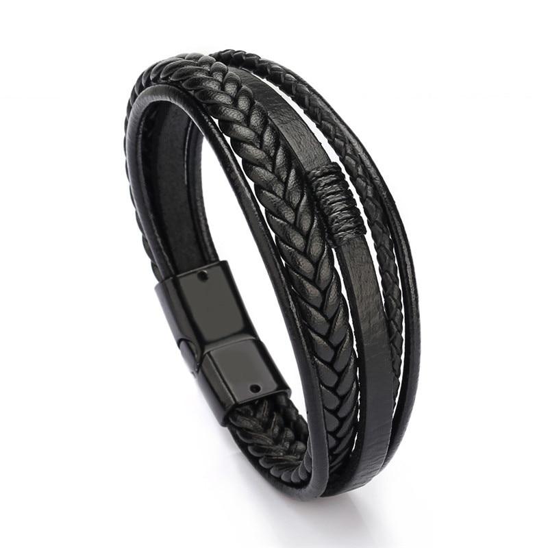 Мужской браслет, многослойный кожаный браслет с магнитной застежкой, Воловья кожа, плетеный многослойный браслет, модный браслет на руку, pulsera hombre - Окраска металла: Black Black