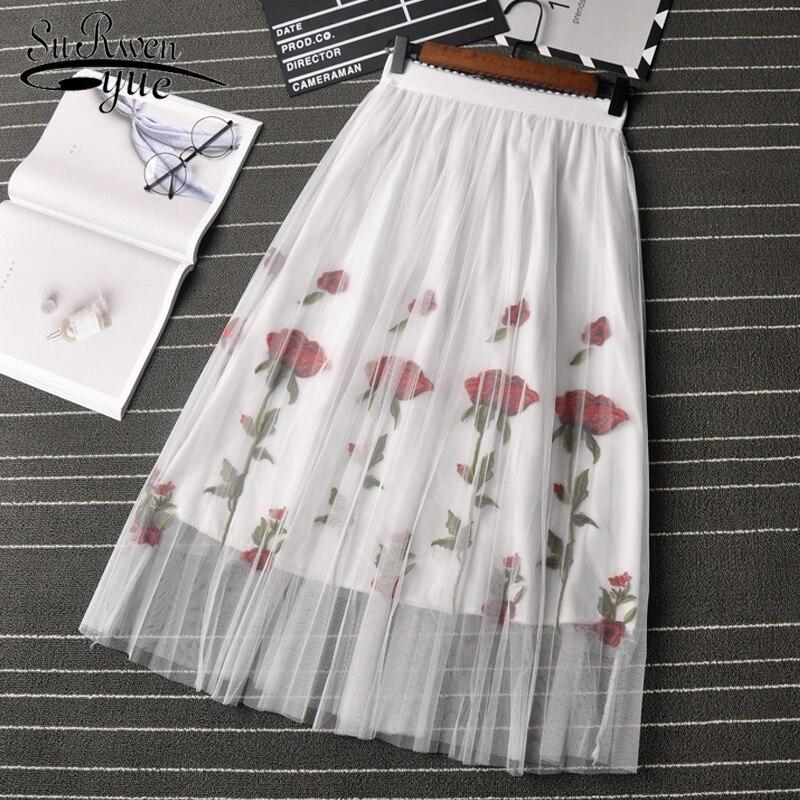 Casual Lace Women Skirt Flower Embroidery Fashion Women Skirts 2019 Lace Skirt Women Solid Black White Mini Summer Skirt 0758 40