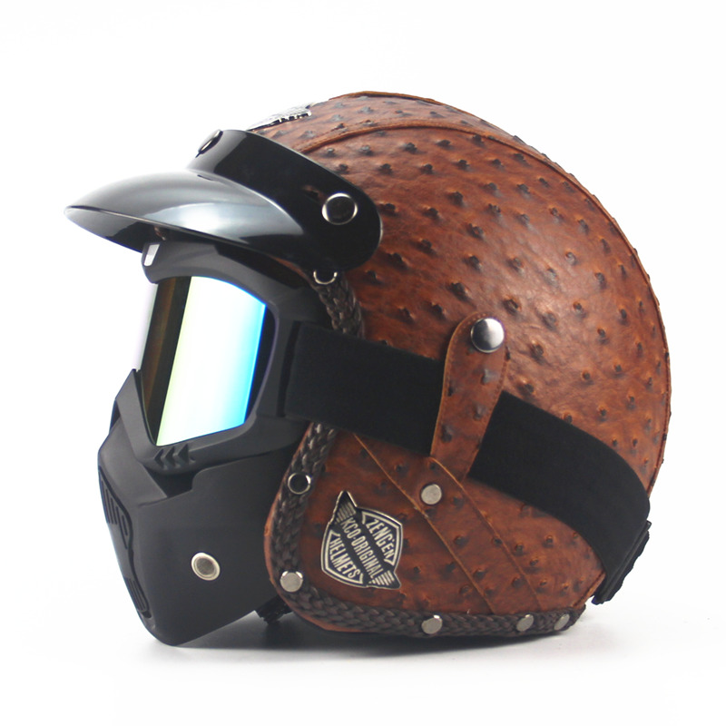 AHP Vintage 3/4 Face ouverte en cuir Moto casque Moto masque Moto bulle visière rétro Scooter vélo casques