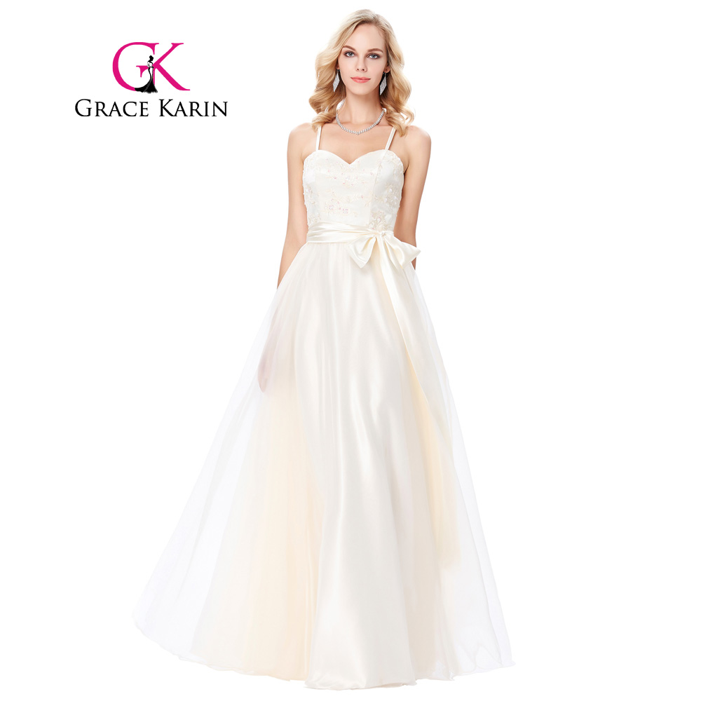 Grace Karin Spaghetti Straps Evening Dress 2018 Cross Back Sweetheart Voile  Ball Gown Champagne Party Gowns Long Evening Dresses 047cfeaffd3d