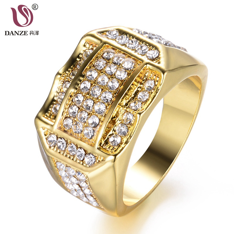 Danze Full Small Zircon Rhinestones Charm Finger Ring Hiphop Micro Paved Bling Jewelry For Men Party Gifts Dropshipping Sieraden Good For Energy And The Spleen
