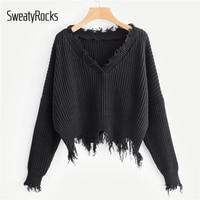 SweatyRocks Solid Casual Frayed Trim Drop Shoulder Jumper Crop Pullovers Ladies Sweater Streetwear 2018 Autumn Women Sweaters
