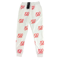Hot Unisexe Emoji Impression Jolie 3D pantalon Joggers Sweat Pantalon-S (Blanc et rouge)