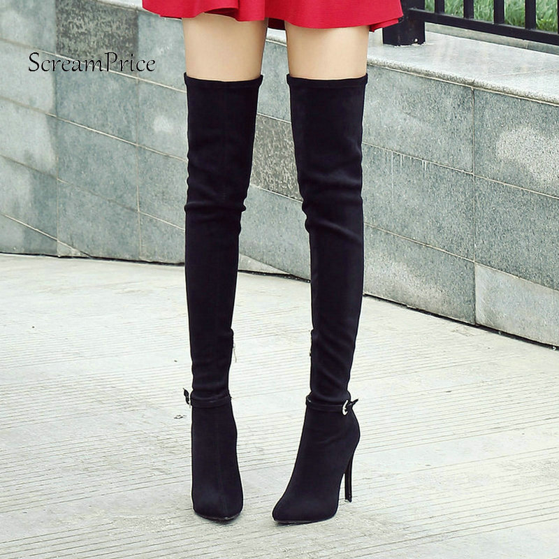 Woman Thin High Heel Zipper Suede Over The Knee Boots Pointed Toe Buckle Winter Stretch Boots Fashion Laides Thigh Boots Black