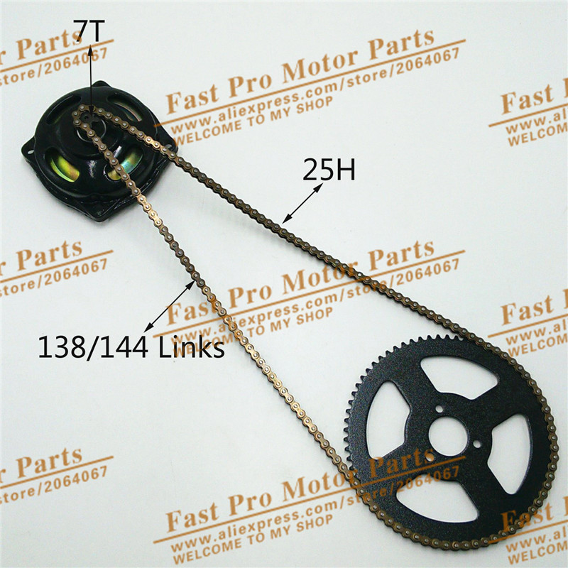 Mini Moto 47cc 49cc Drive System 25H 138/144 links loops Chain with Gear Box And Rear Sprocket Fit Mini Moto Pocket Bike 11t reduction gear box dual sprocket single sprocket for 47cc